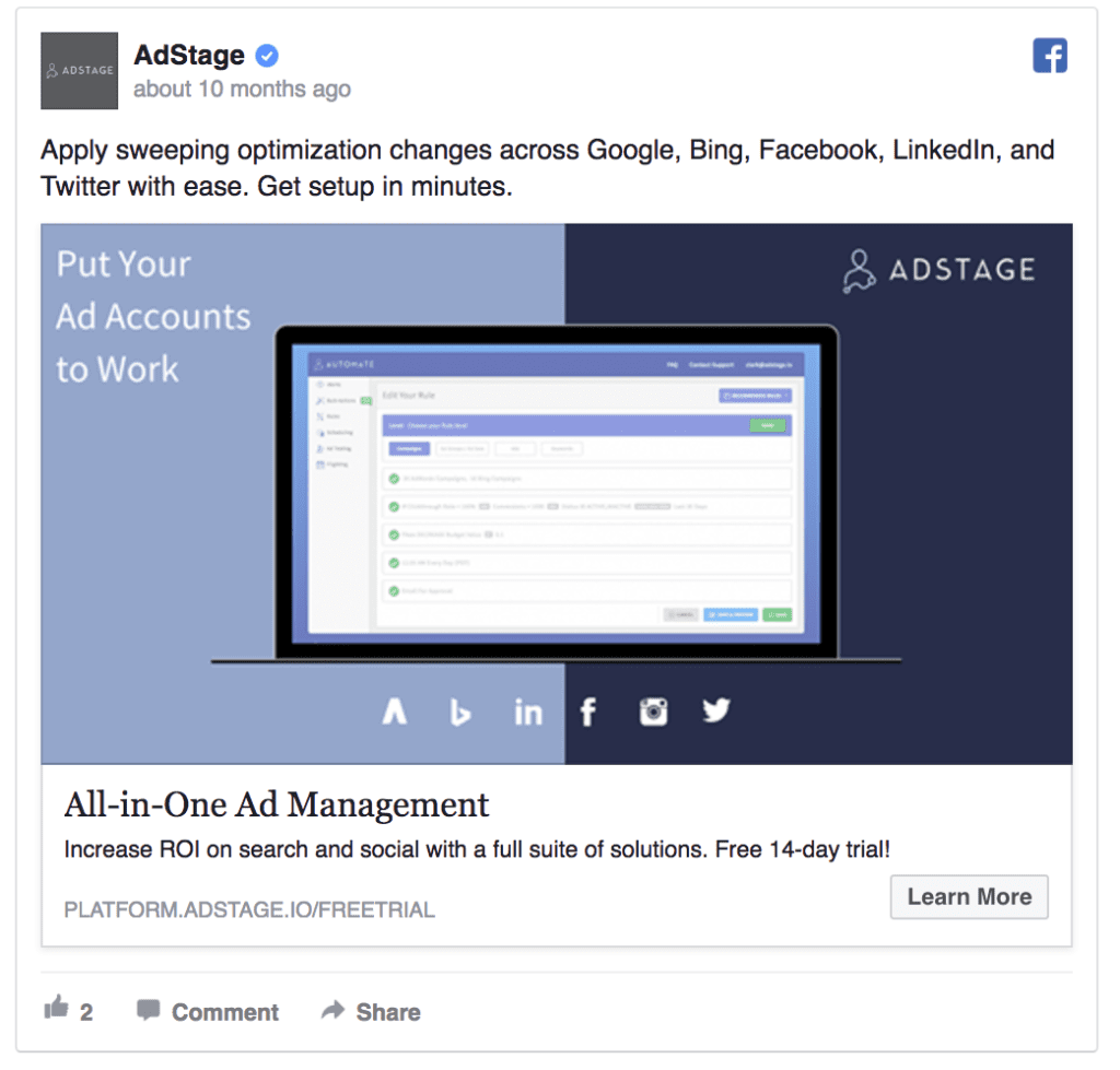 AdStage facebook ad
