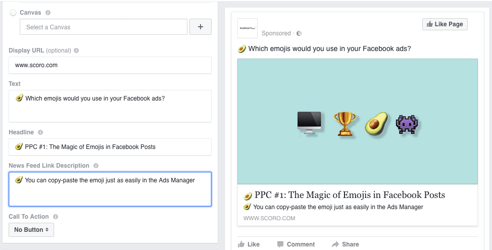 emojis in Facebook posts