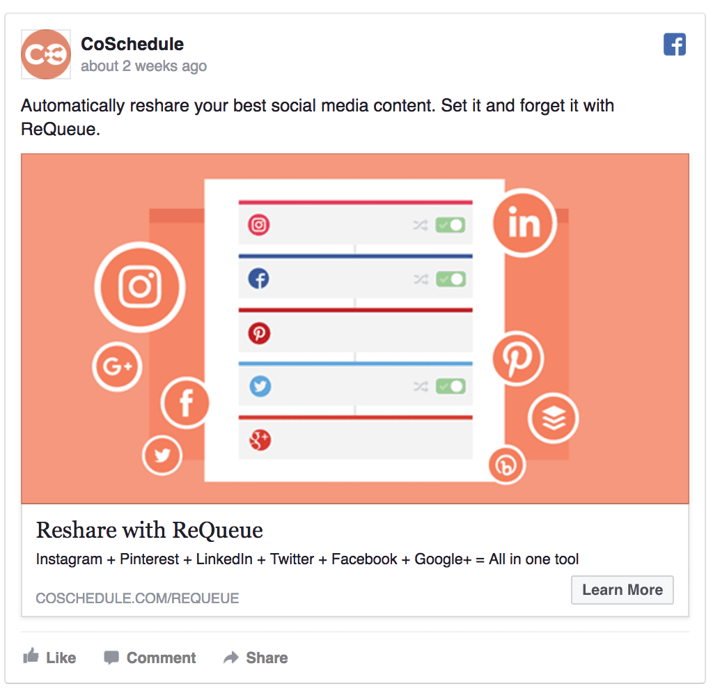 Coschedule facebook ad