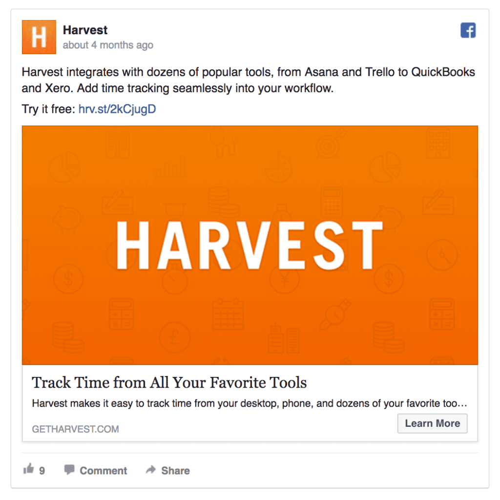 Harvest ad example