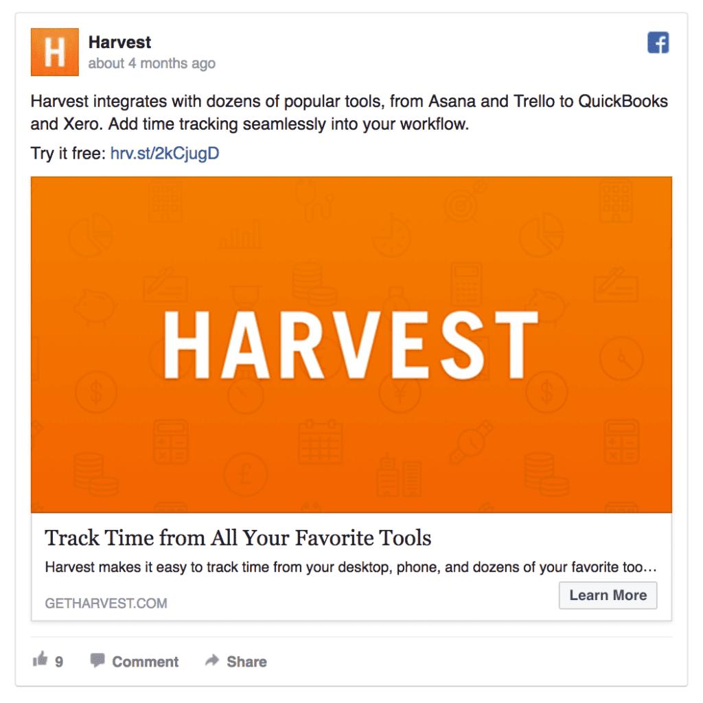 Harvest ad example