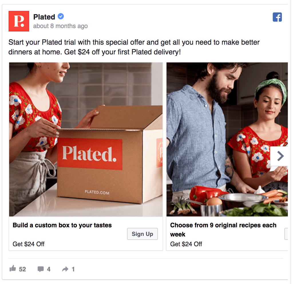 Plated facebook ad example