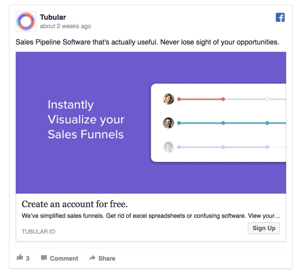 Tubular facebook ad example