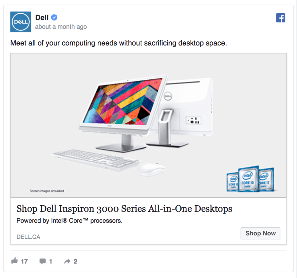 dell facebook ad