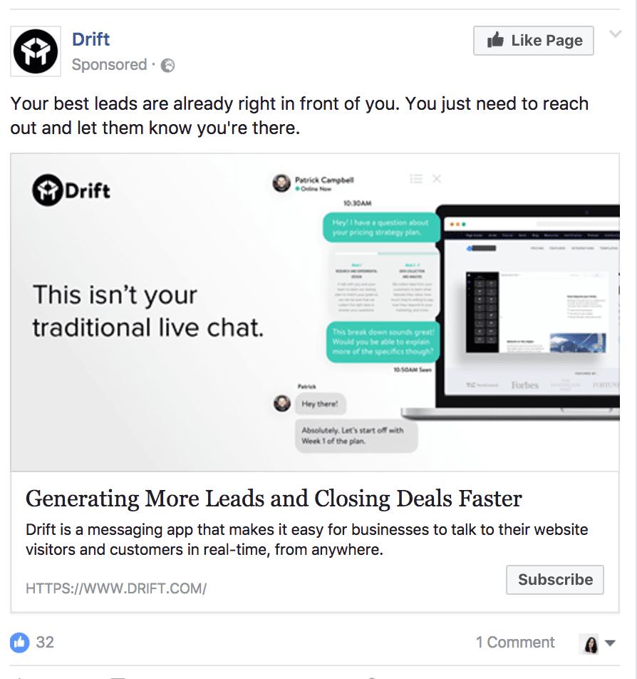 drift facebook ad