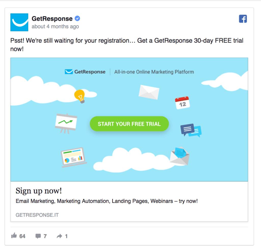 getresponse facebook ad example