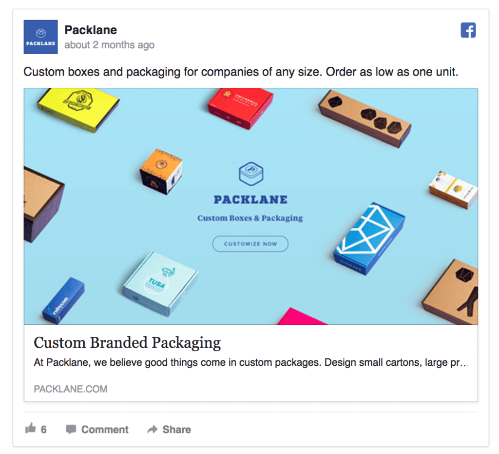 packlane facebook ad example