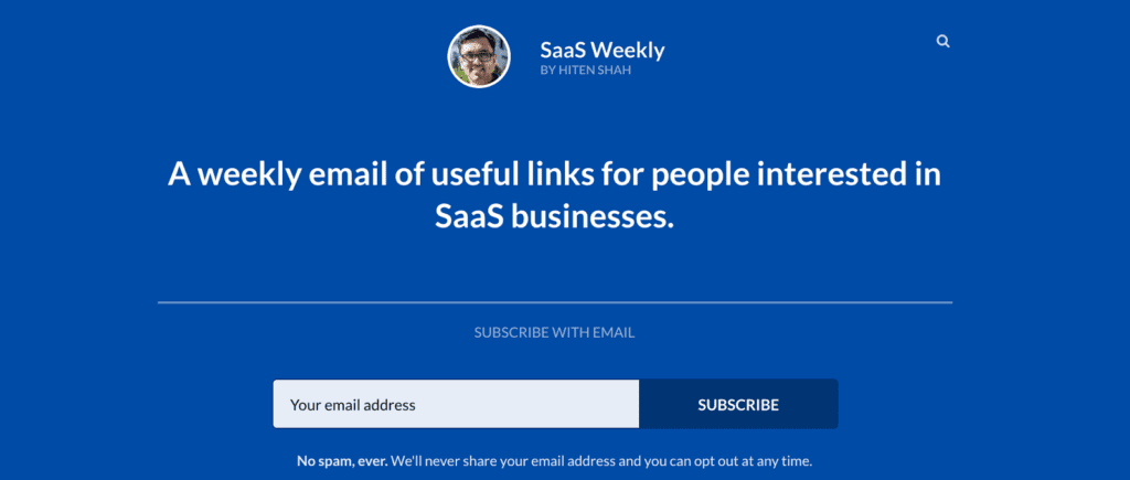 SaaS weekly newsletter