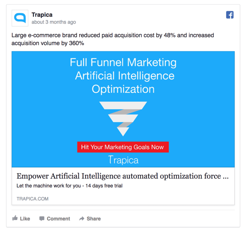 trapica Facebook ad example