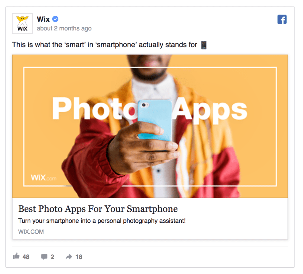 wix facebook ad example