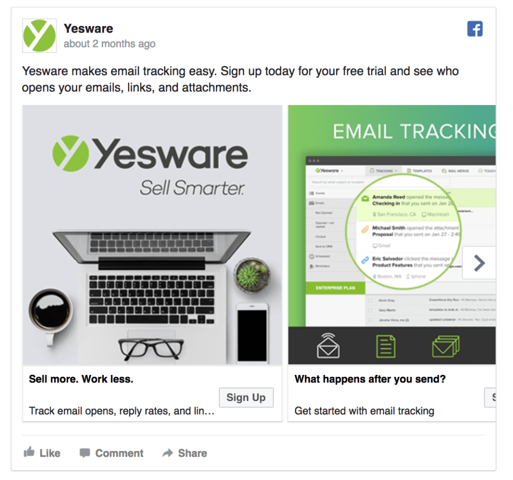 yesware facebook ad example