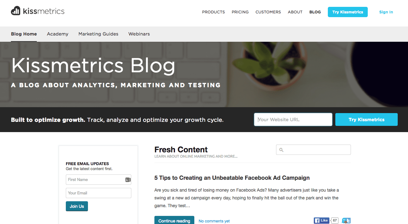 kissmetrics marketing blog