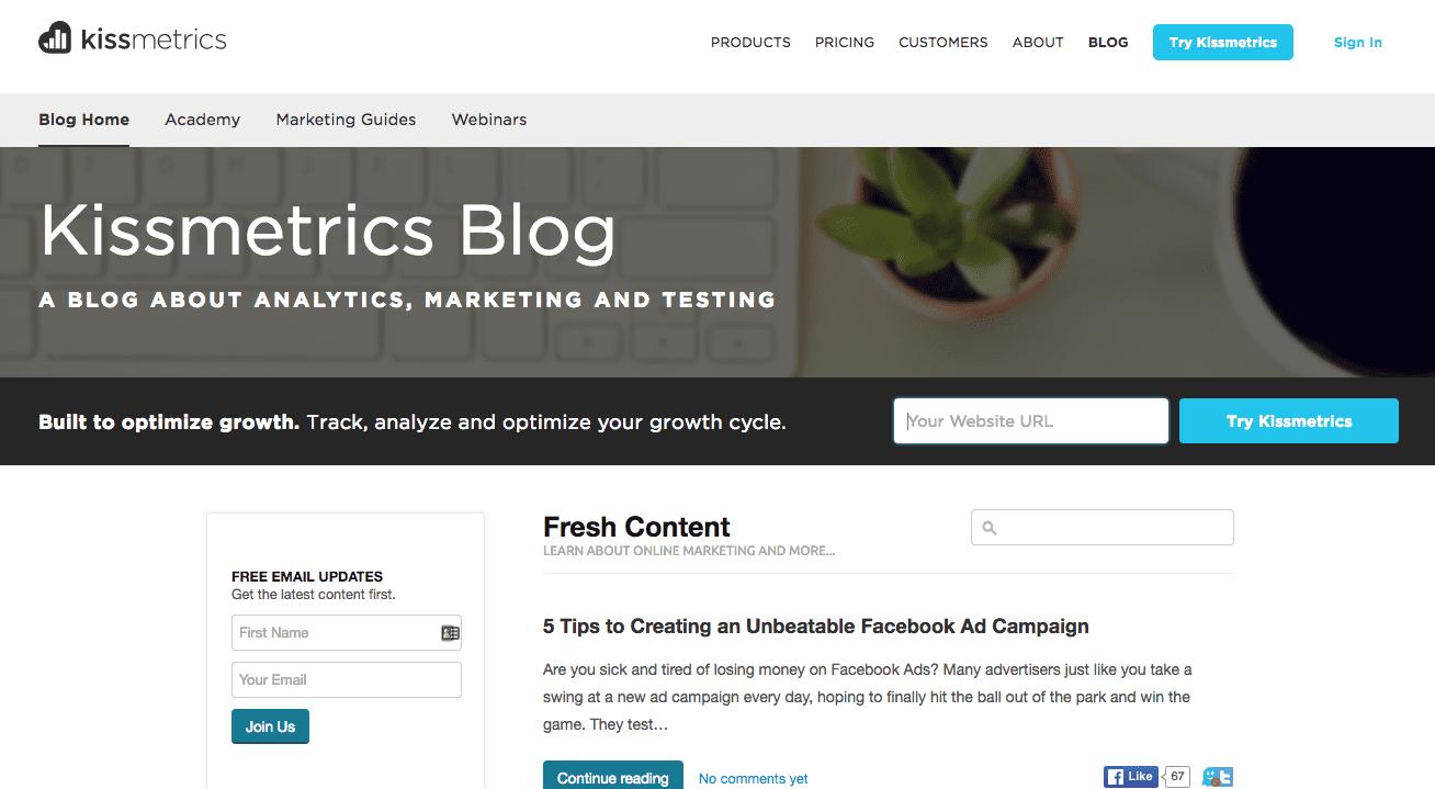kissmetrics marketing blog