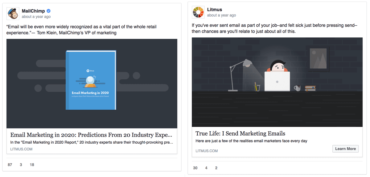 facebook ad comparison