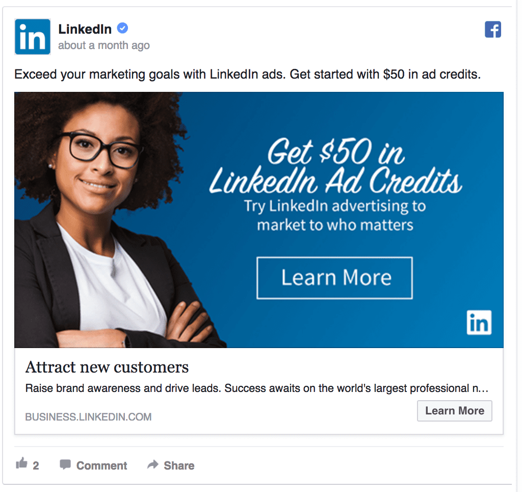 LinkedIn facebook ad example