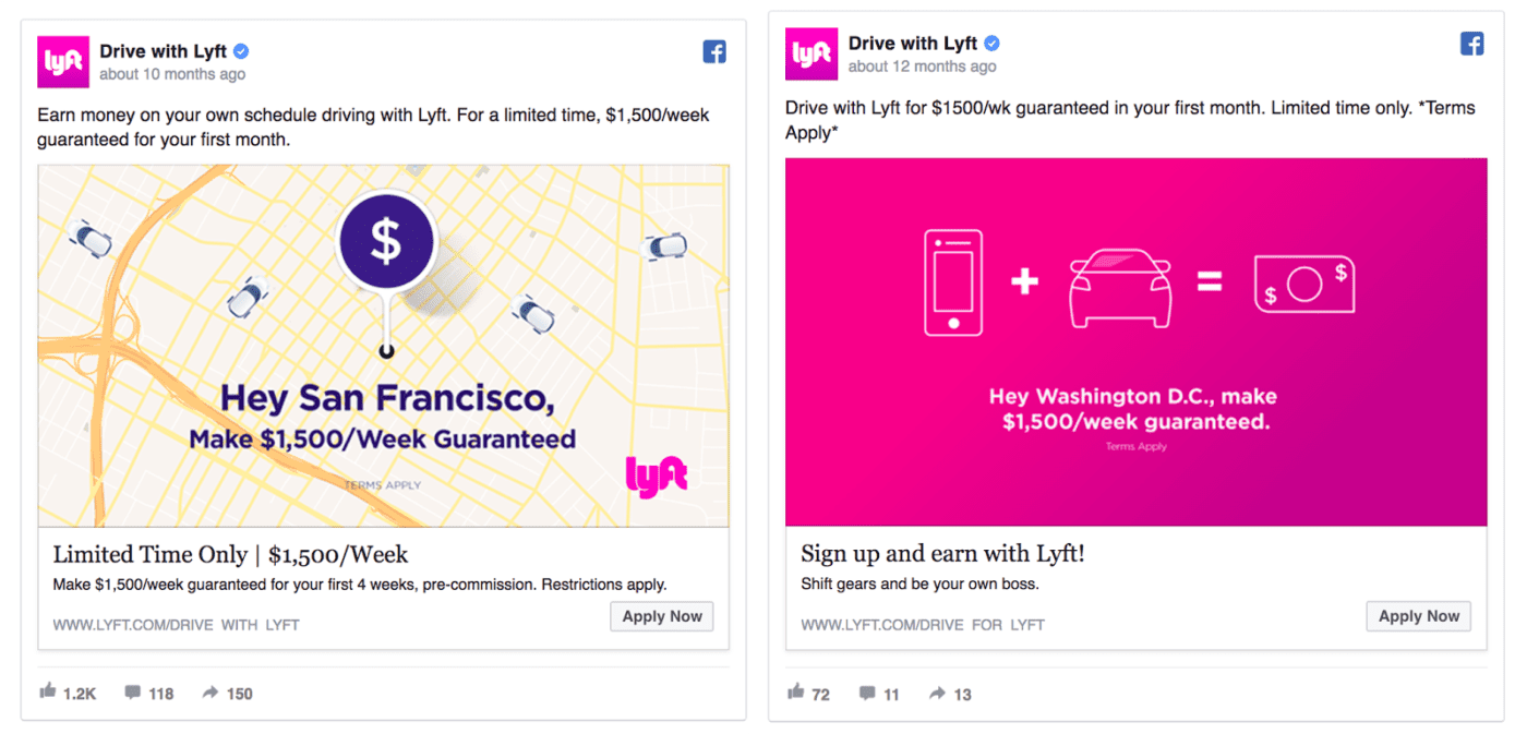Lyft facebook ad design