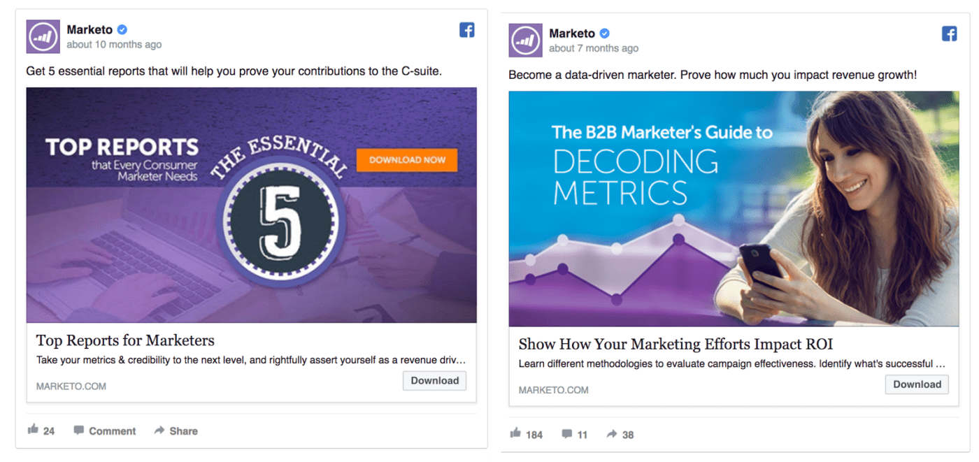 Marketo Facebook ad design