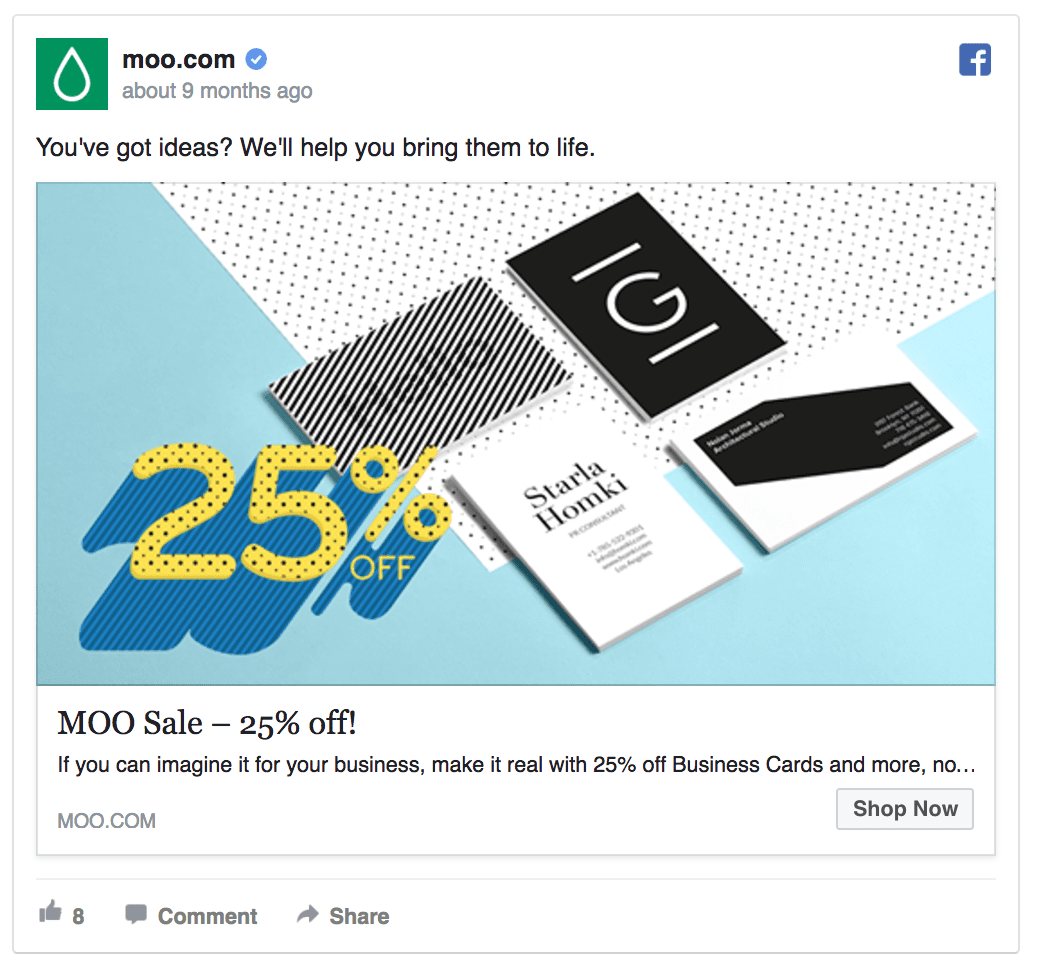 Moo Facebook ad design