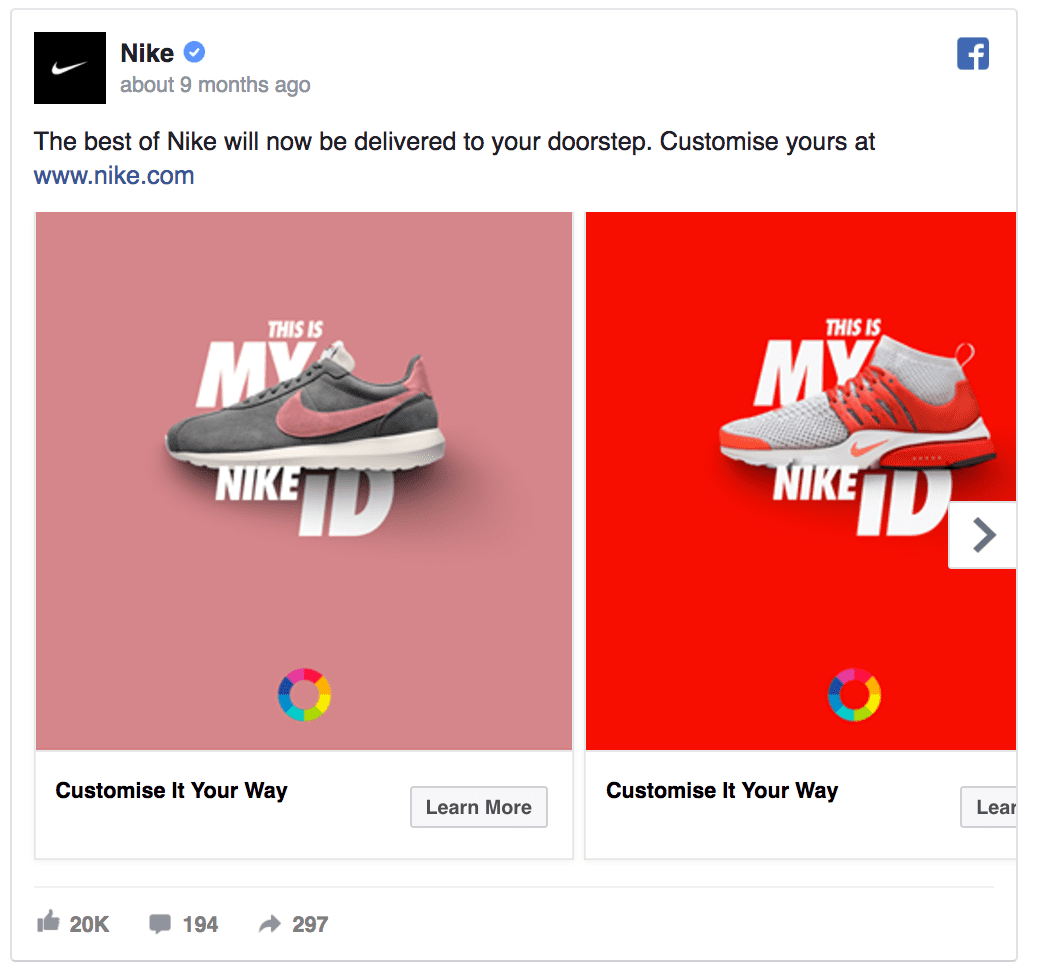 Nike Facebook ad design
