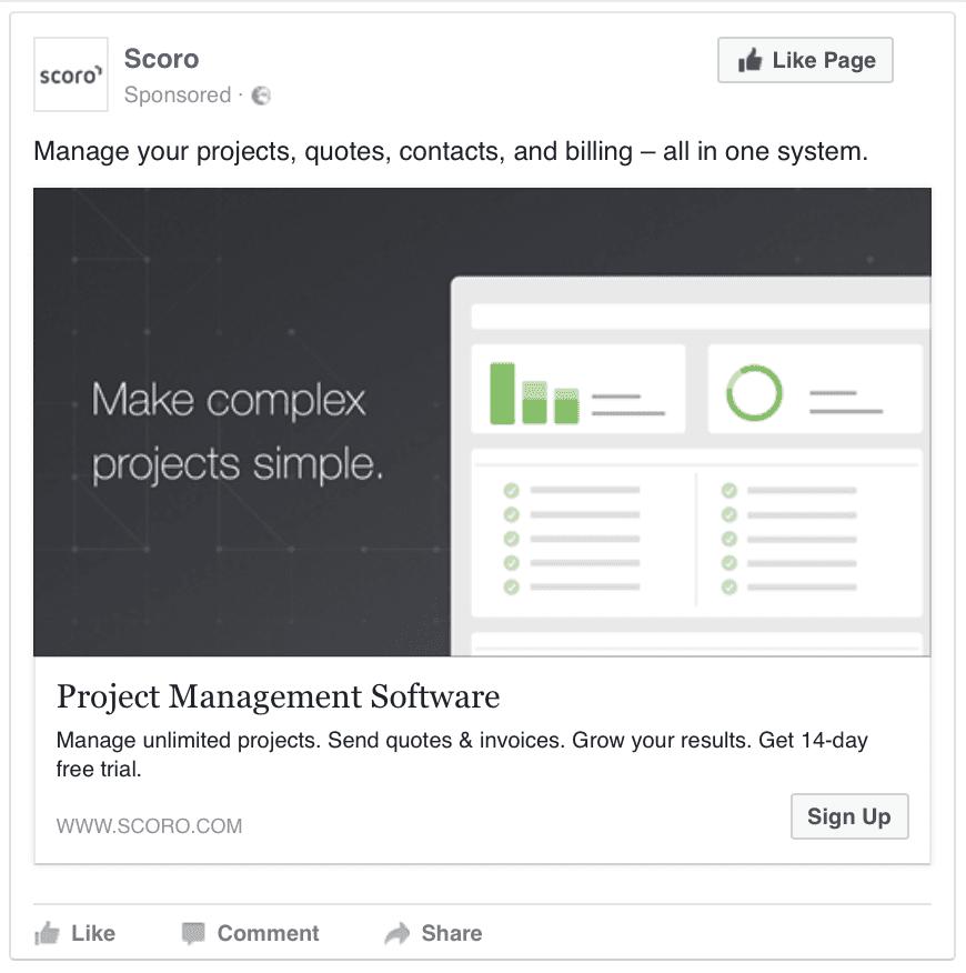 Scoro facebook ad