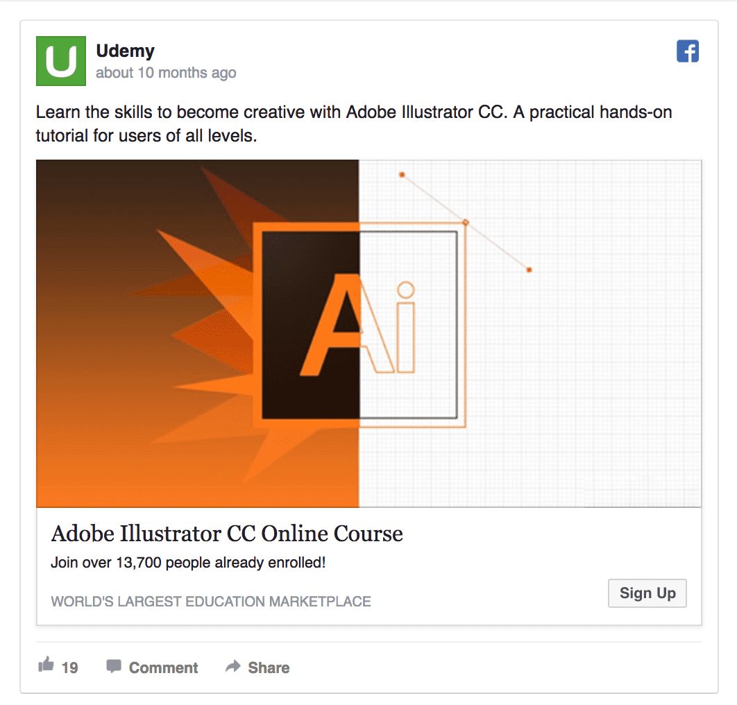Udemy's facebook ad design