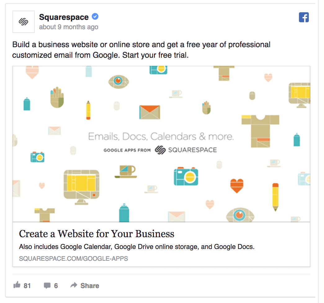 Squarespace Facebook ad design