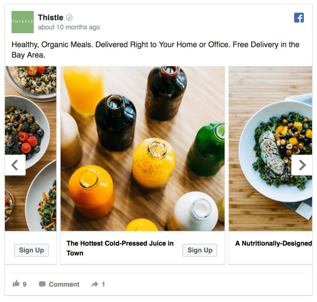 Thistle facebook ad example
