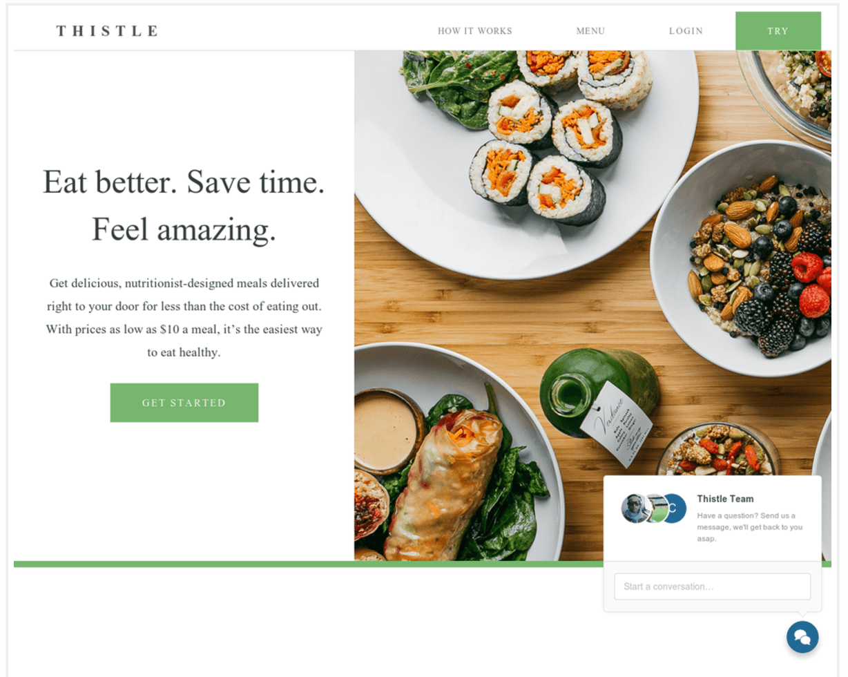 Thistle landing page