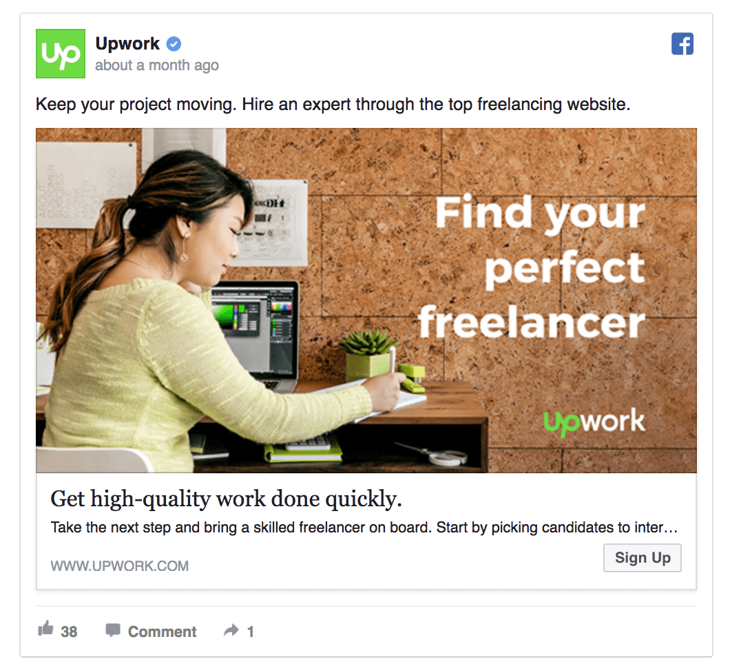 Upwork Facebook ad design