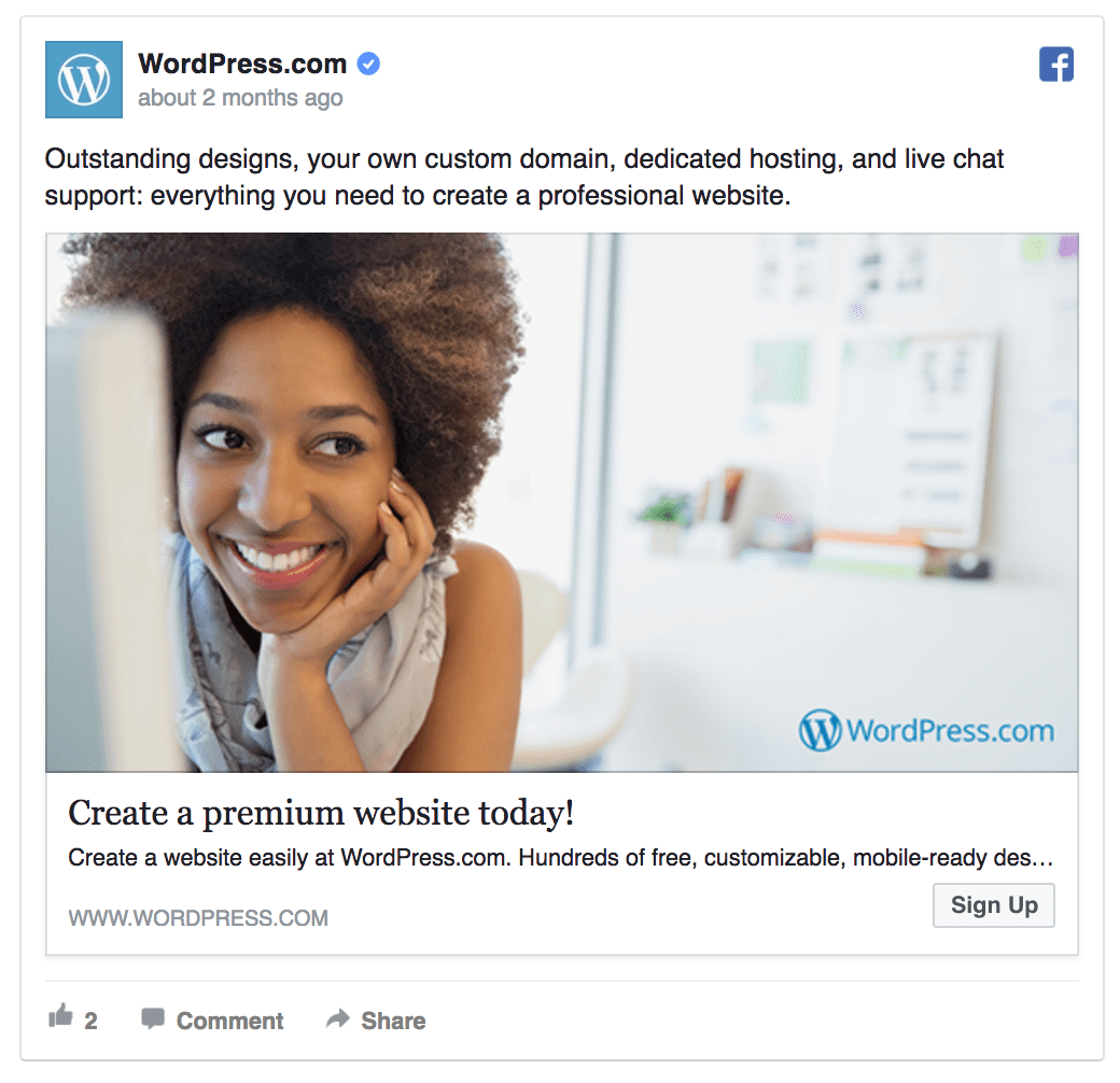 Wordpress facebook ad example