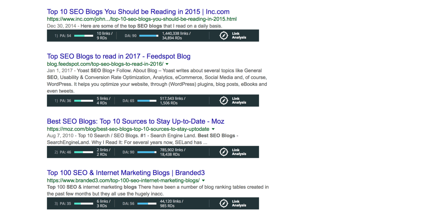 moz toolbar results