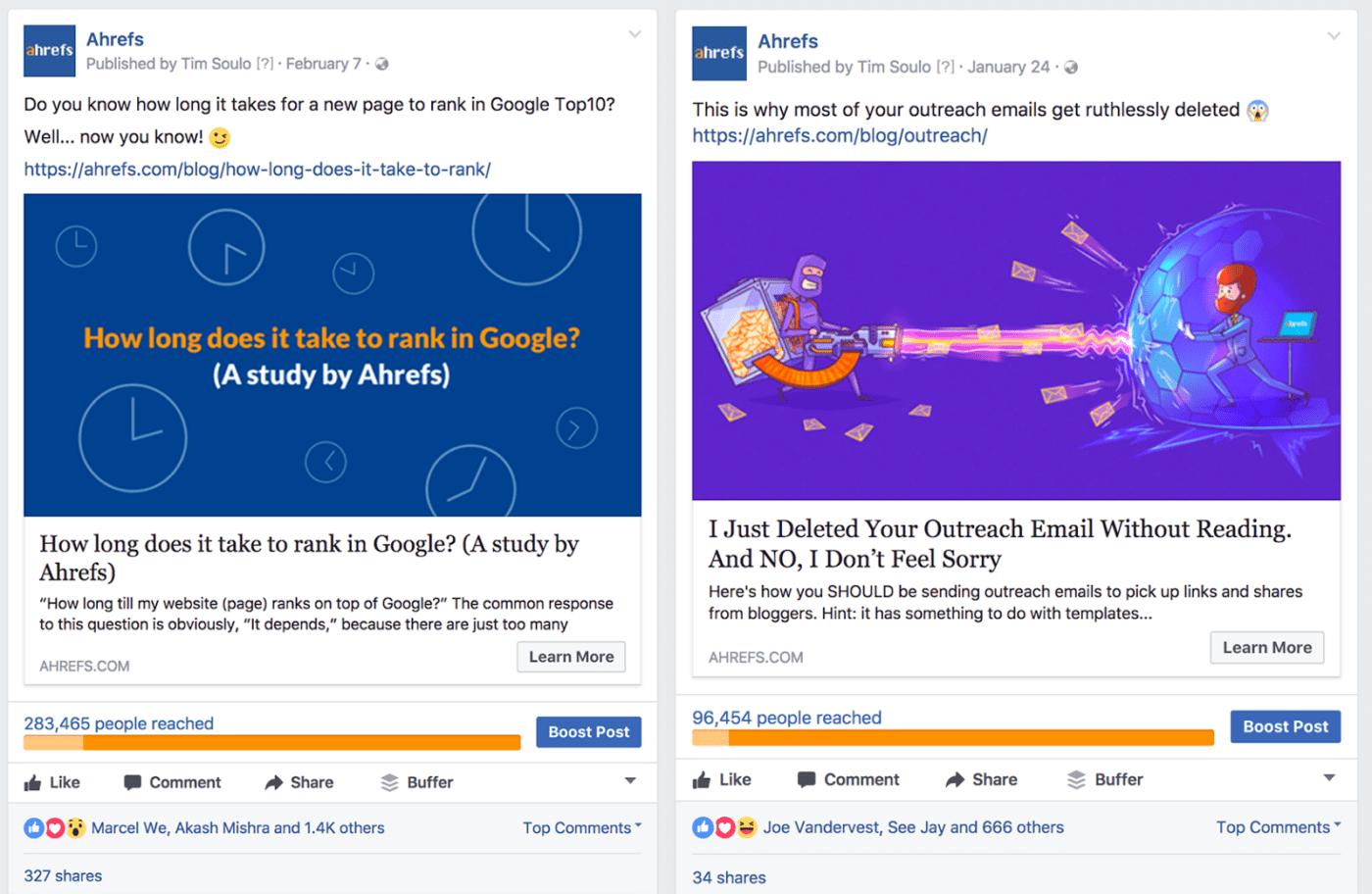 Ahrefs' Facebook ads
