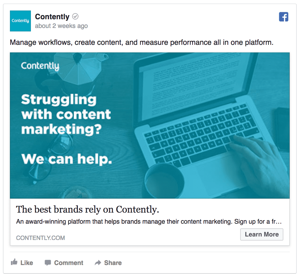 Contently facebook ad