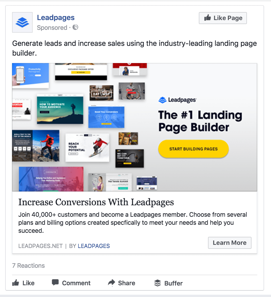 Leadpages' ad has a strong value proposition