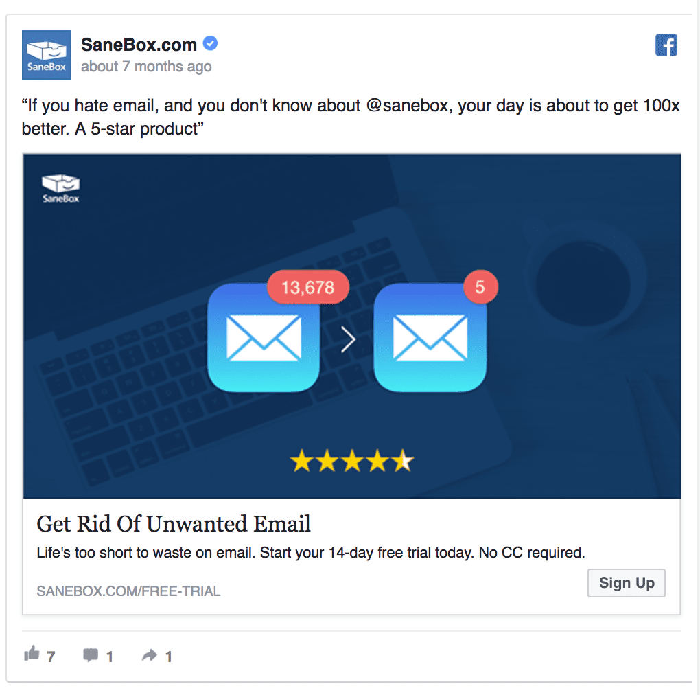 SaneBox facebook ad