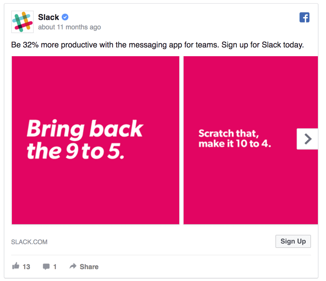 Slack SaaS Facebook marketing