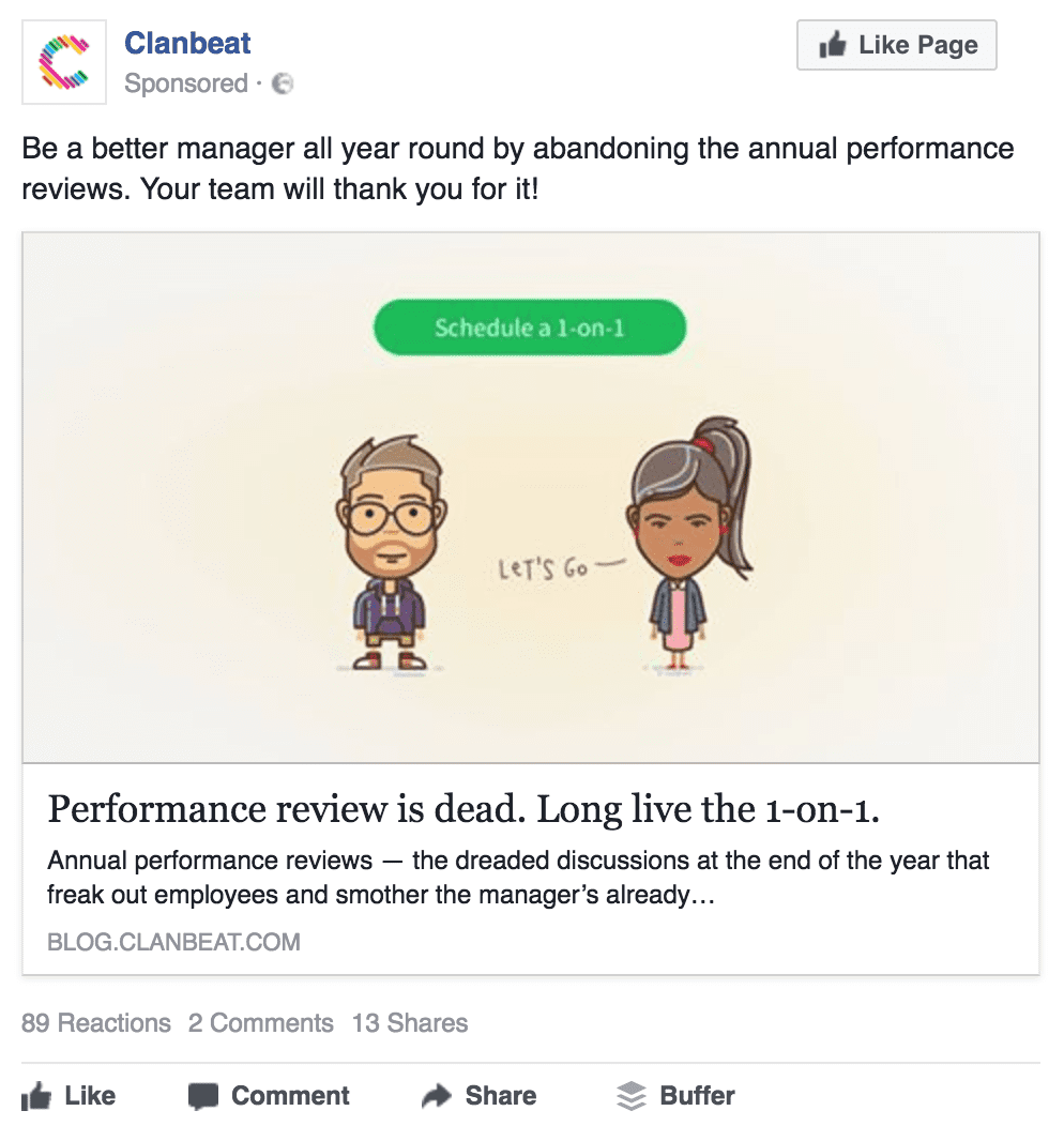 Clanbeat's Facebook ad