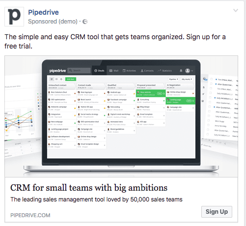pipedrive facebook ad
