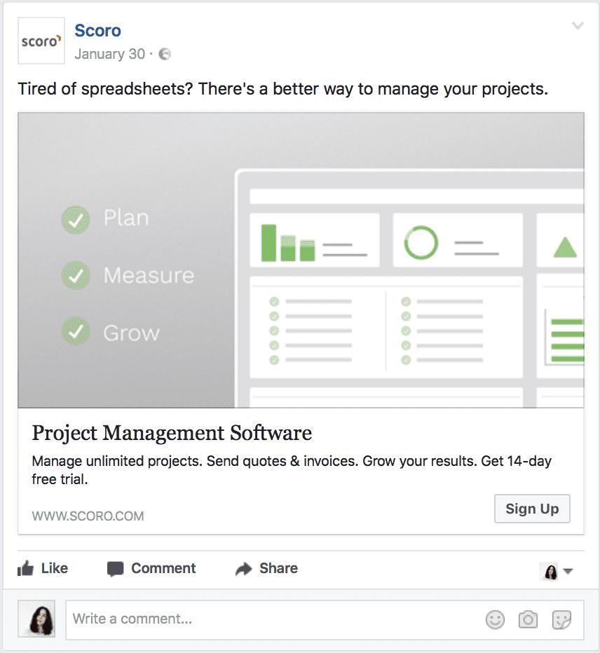 saas facebook ad
