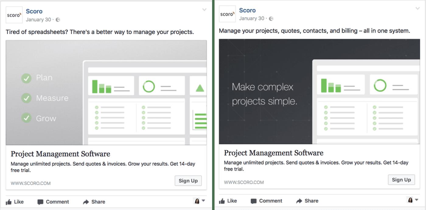 Scoro's Facebook ads
