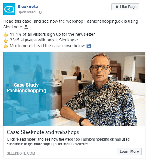 sleeknote SaaS Facebook ad