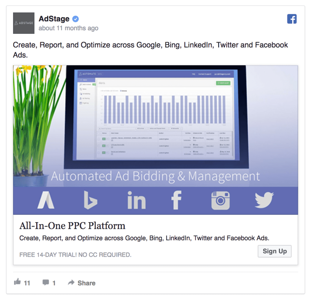 AdStage facebook advertising