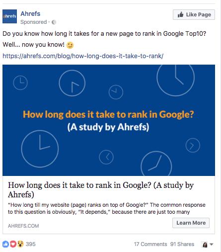 Ahrefs facebook advertising