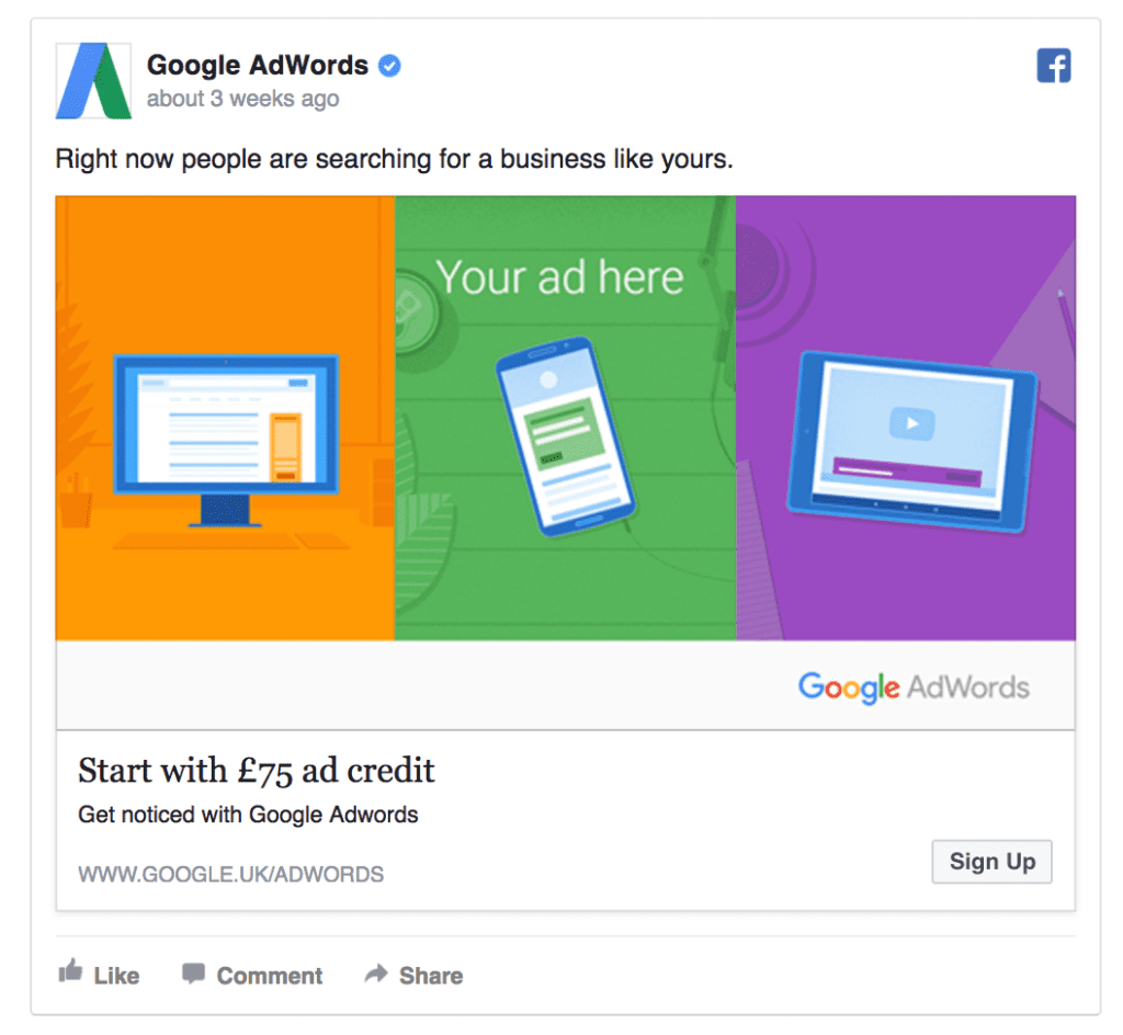 google facebook ad