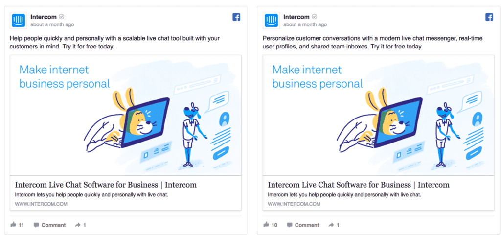intercom facebook ads