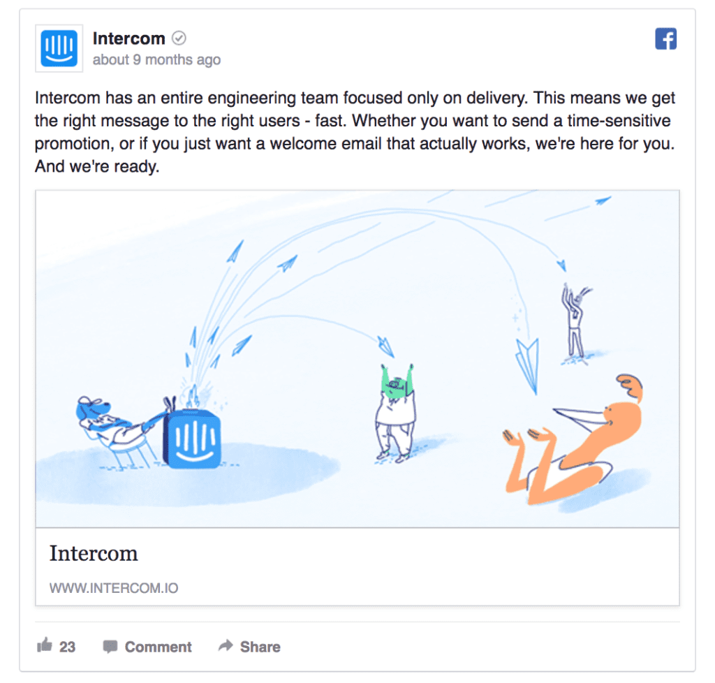 intercom facebook ad