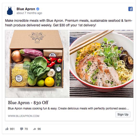 Blue Apron Facebook ad example