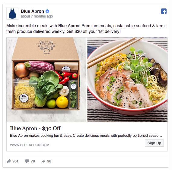 Blue Apron Facebook ad example
