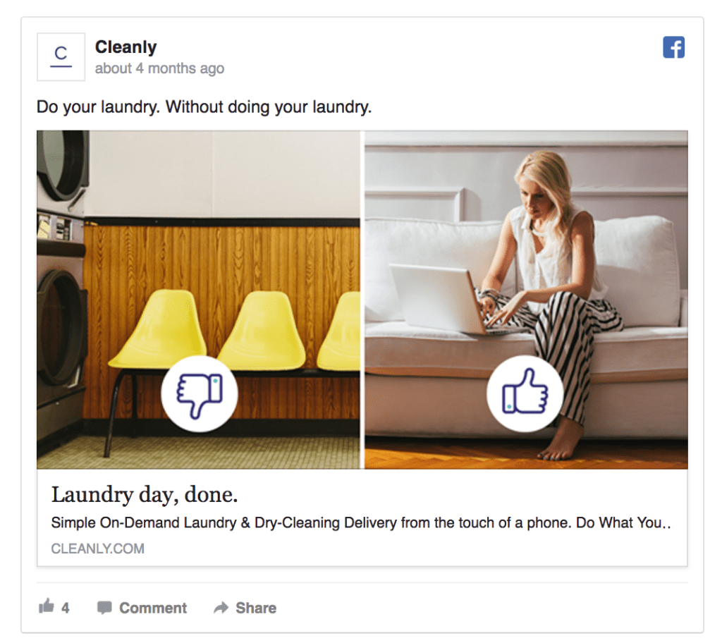 Cleanly facebook ad example