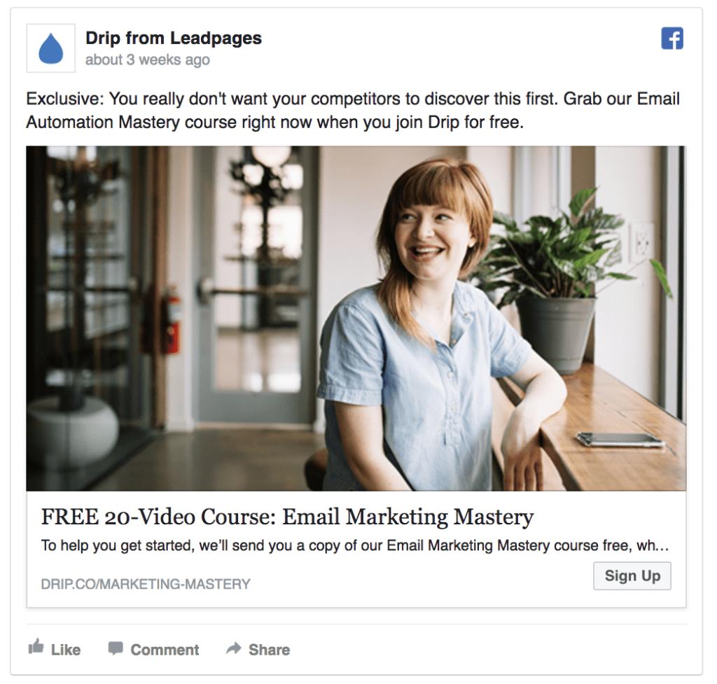 Drip facebook ad